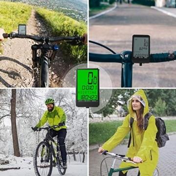 Gafild Fahrradcomputer Kabellos, Radcomputer Wireless IPX7 Wasserdicht mit 32 Funktionen, Fahrradtacho Fahrrad Kilometerzähler Drahtlos mit LCD & 9 Sprachen für Fahrrad/Outdoor/Fitness - 6