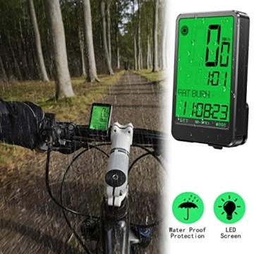 Gafild Fahrradcomputer Kabellos, Radcomputer Wireless IPX7 Wasserdicht mit 32 Funktionen, Fahrradtacho Fahrrad Kilometerzähler Drahtlos mit LCD & 9 Sprachen für Fahrrad/Outdoor/Fitness - 7