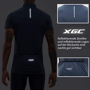 Herren Kurzarm Radtrikot Fahrradtrikot Fahrradbekleidung für Männer mit Elastische Atmungsaktive Schnell Trocknen Stoff 1-2er Packung (Grey, XL) - 2
