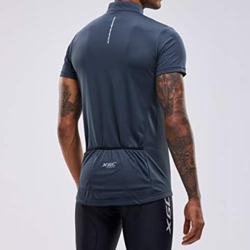 Herren Kurzarm Radtrikot Fahrradtrikot Fahrradbekleidung für Männer mit Elastische Atmungsaktive Schnell Trocknen Stoff 1-2er Packung (Grey, XL) - 3