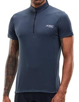 Herren Kurzarm Radtrikot Fahrradtrikot Fahrradbekleidung für Männer mit Elastische Atmungsaktive Schnell Trocknen Stoff 1-2er Packung (Grey, XL) - 1