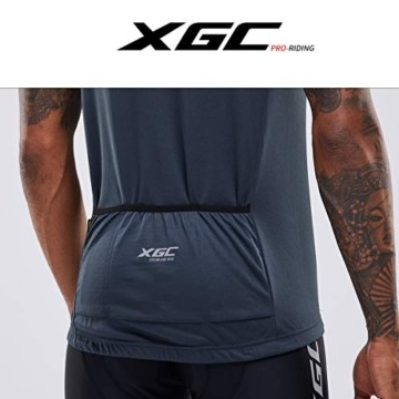 Herren Kurzarm Radtrikot Fahrradtrikot Fahrradbekleidung für Männer mit Elastische Atmungsaktive Schnell Trocknen Stoff 1-2er Packung (Grey, XL) - 4