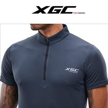 Herren Kurzarm Radtrikot Fahrradtrikot Fahrradbekleidung für Männer mit Elastische Atmungsaktive Schnell Trocknen Stoff 1-2er Packung (Grey, XL) - 5