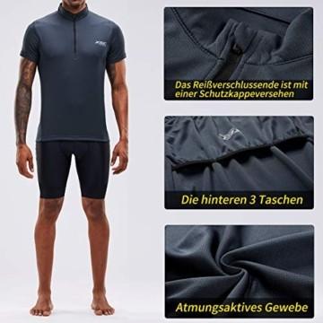 Herren Kurzarm Radtrikot Fahrradtrikot Fahrradbekleidung für Männer mit Elastische Atmungsaktive Schnell Trocknen Stoff 1-2er Packung (Grey, XL) - 6