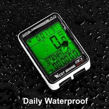 ICOCOPRO Fahrradcomputer Fahrrad Kilometerzähler Kabelloser wasserdichter großer LCD-Bildschirm 5 Sprachoptionen Fahrradcomputer Automatisches Aufwachen und Schlafen Multifunktion - 5