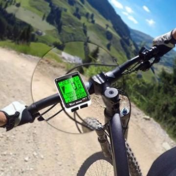 ICOCOPRO Fahrradcomputer Fahrrad Kilometerzähler Kabelloser wasserdichter großer LCD-Bildschirm 5 Sprachoptionen Fahrradcomputer Automatisches Aufwachen und Schlafen Multifunktion - 8