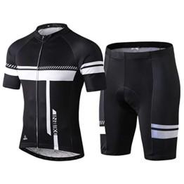 INBIKE Fahrradtrikot Herren Kurzarm Damen Fahrradbekleidung Männer Set Kurz Fahrrad Trikot und Radlerhose mit Sitzpolster(Schwarz, L) - 1