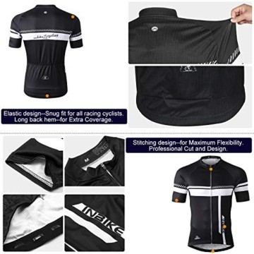 INBIKE Fahrradtrikot Herren Kurzarm Damen Fahrradbekleidung Männer Set Kurz Fahrrad Trikot und Radlerhose mit Sitzpolster(Schwarz, L) - 6
