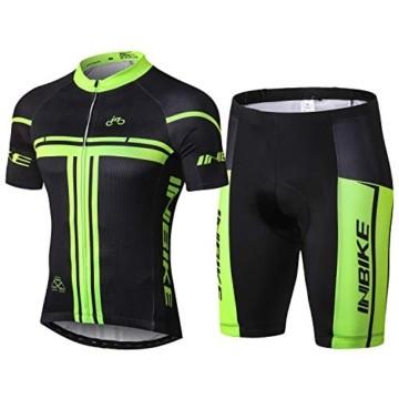 INBIKE Radtrikot Set Herren Fahrrad Trikot Kurzarm Fahrradbekleidung Radhose mit 3D Sitzpolster für Radfahren MTB Jogging,XL - 1