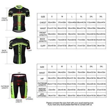 INBIKE Radtrikot Set Herren Fahrrad Trikot Kurzarm Fahrradbekleidung Radhose mit 3D Sitzpolster für Radfahren MTB Jogging,XL - 5