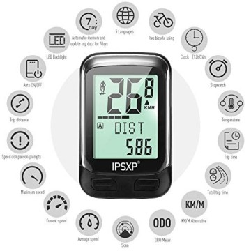 IPSXP Fahrradcomputer Drahtloses wasserdichtes Fahrrad Kilometerzähler Tachometer Automatisches Aufwecken 18 Funktion Radfahren Computer Benutzer A/B LCD-Hintergrundbeleuchtung - 3
