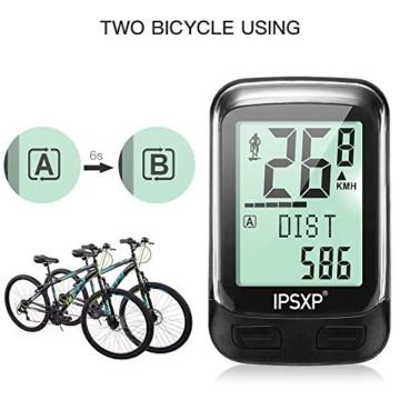 IPSXP Fahrradcomputer Drahtloses wasserdichtes Fahrrad Kilometerzähler Tachometer Automatisches Aufwecken 18 Funktion Radfahren Computer Benutzer A/B LCD-Hintergrundbeleuchtung - 4