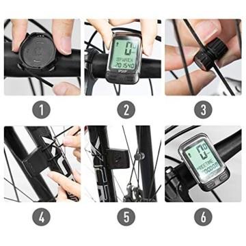 IPSXP Fahrradcomputer Drahtloses wasserdichtes Fahrrad Kilometerzähler Tachometer Automatisches Aufwecken 18 Funktion Radfahren Computer Benutzer A/B LCD-Hintergrundbeleuchtung - 6