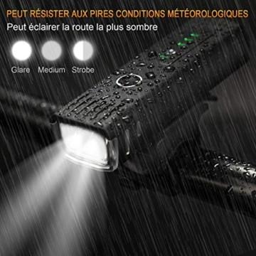 IPSXP Fahrradlicht LED Set - USB Wiederaufladbare Fahrradlichter Fahrradlampe mit Automatischem Lichtsensor - Wasserdicht Frontlicht Rücklicht Fahrradbeleuchtung - 2