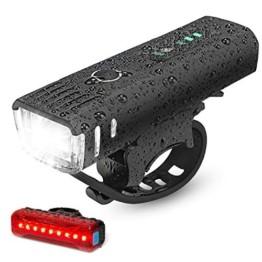 IPSXP Fahrradlicht LED Set - USB Wiederaufladbare Fahrradlichter Fahrradlampe mit Automatischem Lichtsensor - Wasserdicht Frontlicht Rücklicht Fahrradbeleuchtung - 1