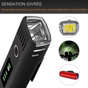 IPSXP Fahrradlicht LED Set - USB Wiederaufladbare Fahrradlichter Fahrradlampe mit Automatischem Lichtsensor - Wasserdicht Frontlicht Rücklicht Fahrradbeleuchtung - 4