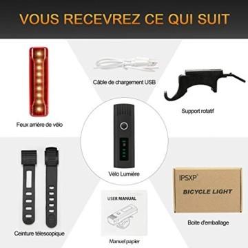 IPSXP Fahrradlicht LED Set - USB Wiederaufladbare Fahrradlichter Fahrradlampe mit Automatischem Lichtsensor - Wasserdicht Frontlicht Rücklicht Fahrradbeleuchtung - 7
