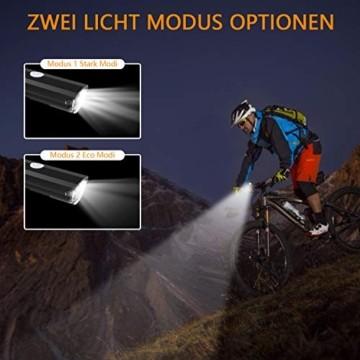 ITSHINY Fahrradlicht - Fahrradlicht USB Aufladbar, StVZO Zulassung Fahrradlampe Aus Aluminium LED, Fahrradbeleuchtung Set Wasserdicht 2 Licht-Modi Frontlicht und Rücklicht Set - 3