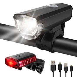 ITSHINY Fahrradlicht - Fahrradlicht USB Aufladbar, StVZO Zulassung Fahrradlampe Aus Aluminium LED, Fahrradbeleuchtung Set Wasserdicht 2 Licht-Modi Frontlicht und Rücklicht Set - 1