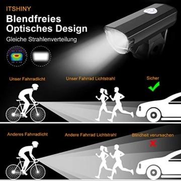 ITSHINY Fahrradlicht - Fahrradlicht USB Aufladbar, StVZO Zulassung Fahrradlampe Aus Aluminium LED, Fahrradbeleuchtung Set Wasserdicht 2 Licht-Modi Frontlicht und Rücklicht Set - 4
