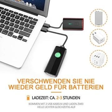 ITSHINY Fahrradlicht - Fahrradlicht USB Aufladbar, StVZO Zulassung Fahrradlampe Aus Aluminium LED, Fahrradbeleuchtung Set Wasserdicht 2 Licht-Modi Frontlicht und Rücklicht Set - 5