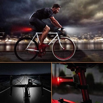 ITSHINY Fahrradlicht - Fahrradlicht USB Aufladbar, StVZO Zulassung Fahrradlampe Aus Aluminium LED, Fahrradbeleuchtung Set Wasserdicht 2 Licht-Modi Frontlicht und Rücklicht Set - 6