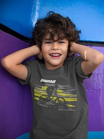 Kinder T-Shirt: Downhill Adrenaline - Fahrrad Geschenk-e Jungen & Mädchen - Radfahrer-in Mountain Bike MTB BMX Roller Rad Outdoor Junge Kind, Light Graphite, 164 - 3