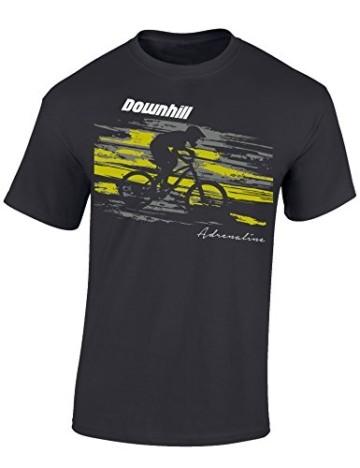 Kinder T-Shirt: Downhill Adrenaline - Fahrrad Geschenk-e Jungen & Mädchen - Radfahrer-in Mountain Bike MTB BMX Roller Rad Outdoor Junge Kind, Light Graphite, 164 - 1