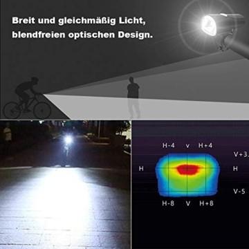 LIFEBEE LED Fahrradlicht, LED Fahrradbeleuchtung StVZO Zugelassen USB Wiederaufladbare Frontlicht und Rücklicht Set, Fahrradlampe, 2 Licht-Modi, Fahrradlichter mit USB-Kabel für Mountainbike - 3