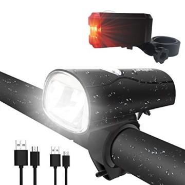 LIFEBEE LED Fahrradlicht, LED Fahrradbeleuchtung StVZO Zugelassen USB Wiederaufladbare Frontlicht und Rücklicht Set, Fahrradlampe, 2 Licht-Modi, Fahrradlichter mit USB-Kabel für Mountainbike - 1