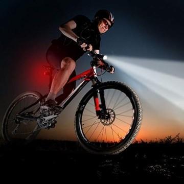 LIFEBEE LED Fahrradlicht, LED Fahrradbeleuchtung StVZO Zugelassen USB Wiederaufladbare Frontlicht und Rücklicht Set, Fahrradlampe, 2 Licht-Modi, Fahrradlichter mit USB-Kabel für Mountainbike - 5