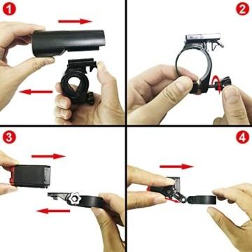 LIFEBEE LED Fahrradlicht, LED Fahrradbeleuchtung StVZO Zugelassen USB Wiederaufladbare Frontlicht und Rücklicht Set, Fahrradlampe, 2 Licht-Modi, Fahrradlichter mit USB-Kabel für Mountainbike - 6