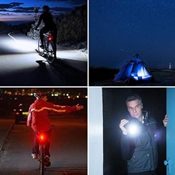 LIFEBEE LED Fahrradlicht, LED Fahrradbeleuchtung StVZO Zugelassen USB Wiederaufladbare Frontlicht und Rücklicht Set, Fahrradlampe, 2 Licht-Modi, Fahrradlichter mit USB-Kabel für Mountainbike - 7