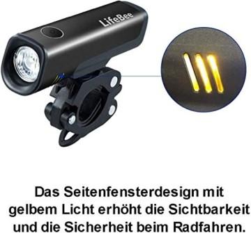 LIFEBEE LED Fahrradlicht Set, StVZO Zugelassen LED Fahrradbeleuchtung Fahrradlampe fahrradlichter USB Wiederaufladbare Set Wasserdicht Frontlicht Rücklicht 2600mAh 300Lumen Licht für Fahrrad Set - 2
