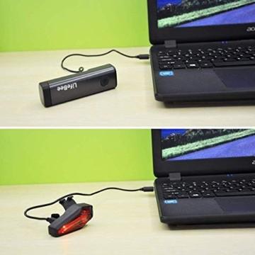 LIFEBEE LED Fahrradlicht Set, StVZO Zugelassen LED Fahrradbeleuchtung Fahrradlampe fahrradlichter USB Wiederaufladbare Set Wasserdicht Frontlicht Rücklicht 2600mAh 300Lumen Licht für Fahrrad Set - 3