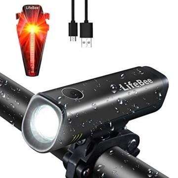 LIFEBEE LED Fahrradlicht Set, StVZO Zugelassen LED Fahrradbeleuchtung Fahrradlampe fahrradlichter USB Wiederaufladbare Set Wasserdicht Frontlicht Rücklicht 2600mAh 300Lumen Licht für Fahrrad Set - 1