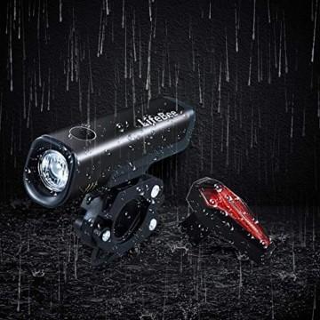LIFEBEE LED Fahrradlicht Set, StVZO Zugelassen LED Fahrradbeleuchtung Fahrradlampe fahrradlichter USB Wiederaufladbare Set Wasserdicht Frontlicht Rücklicht 2600mAh 300Lumen Licht für Fahrrad Set - 5