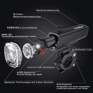 LIFEBEE LED Fahrradlicht Set, StVZO Zugelassen LED Fahrradbeleuchtung Fahrradlampe fahrradlichter USB Wiederaufladbare Set Wasserdicht Frontlicht Rücklicht 2600mAh 300Lumen Licht für Fahrrad Set - 6