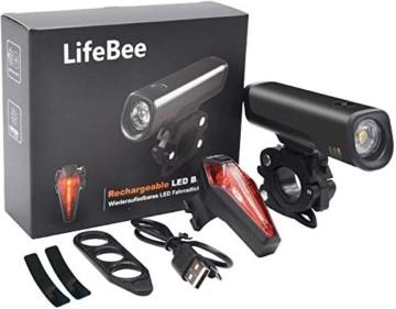 LIFEBEE LED Fahrradlicht Set, StVZO Zugelassen LED Fahrradbeleuchtung Fahrradlampe fahrradlichter USB Wiederaufladbare Set Wasserdicht Frontlicht Rücklicht 2600mAh 300Lumen Licht für Fahrrad Set - 7