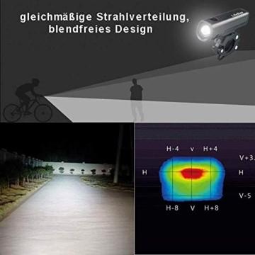 LIFEBEE LED Fahrradlicht Set, StVZO Zugelassen LED Fahrradbeleuchtung Fahrradlampe fahrradlichter USB Wiederaufladbare Set Wasserdicht Frontlicht Rücklicht 2600mAh 300Lumen Licht für Fahrrad Set - 9