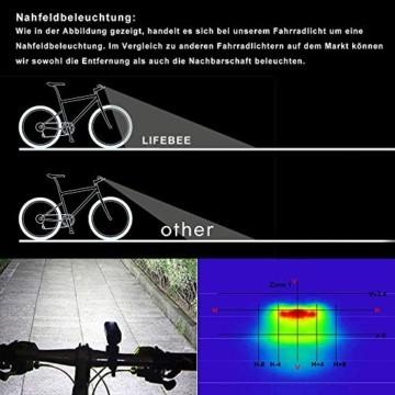 LIFEBEE LED Fahrradlicht Set, StVZO Zugelassen USB Fahrradbeleuchtung Fahrradlampe Frontlicht/Rücklicht, IPX5 Wasserdicht 2600mAh Samsung Li-ion Licht für Fahrrad - 2