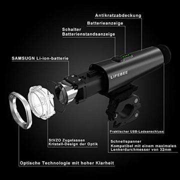 LIFEBEE LED Fahrradlicht Set, StVZO Zugelassen USB Fahrradbeleuchtung Fahrradlampe Frontlicht/Rücklicht, IPX5 Wasserdicht 2600mAh Samsung Li-ion Licht für Fahrrad - 3