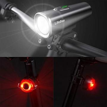 LIFEBEE LED Fahrradlicht Set, StVZO Zugelassen USB Fahrradbeleuchtung Fahrradlampe Frontlicht/Rücklicht, IPX5 Wasserdicht 2600mAh Samsung Li-ion Licht für Fahrrad - 5