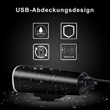 LIFEBEE LED Fahrradlicht Set, StVZO Zugelassen USB Fahrradbeleuchtung Fahrradlampe Frontlicht/Rücklicht, IPX5 Wasserdicht 2600mAh Samsung Li-ion Licht für Fahrrad - 6