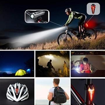 LIFEBEE LED Fahrradlicht Set, StVZO Zugelassen USB Wiederaufladbare Fahrradbeleuchtung fahrradlichter Set, IPX5 Wasserdicht Frontlicht Rücklicht Fahrradlampe Set, 300Lumen Licht für Fahrrad - 2