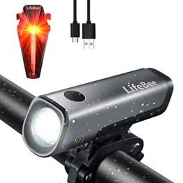 LIFEBEE LED Fahrradlicht Set, StVZO Zugelassen USB Wiederaufladbare Fahrradbeleuchtung fahrradlichter Set, IPX5 Wasserdicht Frontlicht Rücklicht Fahrradlampe Set, 300Lumen Licht für Fahrrad - 1
