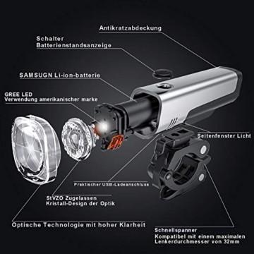 LIFEBEE LED Fahrradlicht Set, StVZO Zugelassen USB Wiederaufladbare Fahrradbeleuchtung fahrradlichter Set, IPX5 Wasserdicht Frontlicht Rücklicht Fahrradlampe Set, 300Lumen Licht für Fahrrad - 4