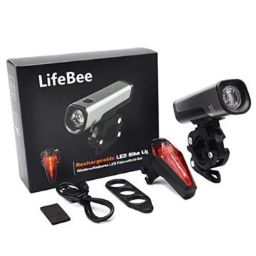 LIFEBEE LED Fahrradlicht Set, StVZO Zugelassen USB Wiederaufladbare Fahrradbeleuchtung fahrradlichter Set, IPX5 Wasserdicht Frontlicht Rücklicht Fahrradlampe Set, 300Lumen Licht für Fahrrad - 7