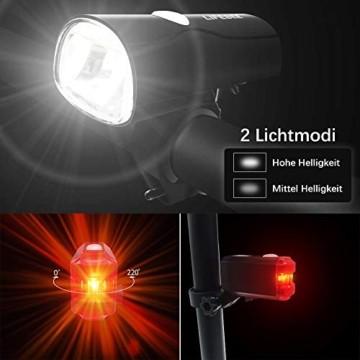 LIFEBEE LED Fahrradlicht Set, StVZO Zugelassen USB Wiederaufladbare Fahrradlampe Frontlicht Vorne Licht Rücklicht, Fahrradbeleuchtung, 2 Licht-Modi, IPX4 Wasserdicht Fahrradlichter Licht für Fahrrad - 2