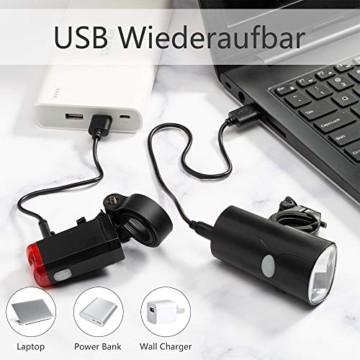 LIFEBEE LED Fahrradlicht Set, StVZO Zugelassen USB Wiederaufladbare Fahrradlampe Frontlicht Vorne Licht Rücklicht, Fahrradbeleuchtung, 2 Licht-Modi, IPX4 Wasserdicht Fahrradlichter Licht für Fahrrad - 7